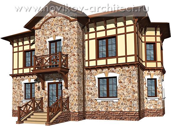 Дизайн фасада частного дома в стиле Фахверк архитектор проект москва подмосковье
